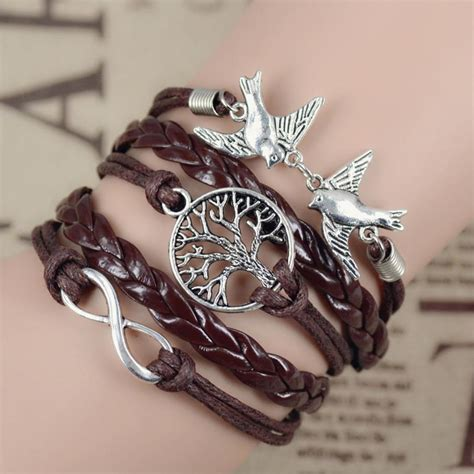 2016 new infinity leather owl leaf charm
