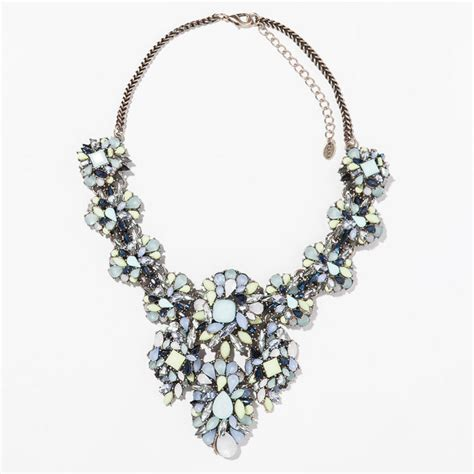 big brand jewelry choker resin blue flower necklace 2014