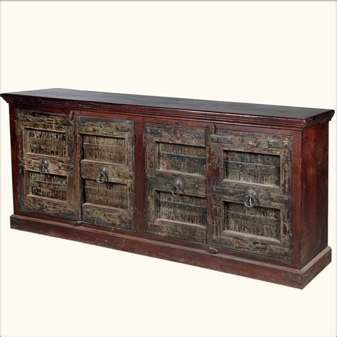 Rustic Gothic Reclaimed Wood Large Storage Sideboard Rustic Buffet Cabinet