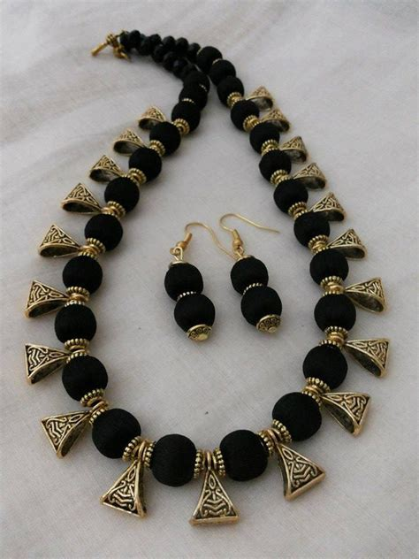 Handmade Thread Jewellery - black silk thread necklace and earrings jewelry set handmade