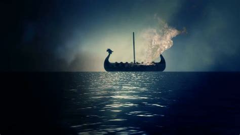 fire boat funeral boat in flames as part of a traditional viking funeral