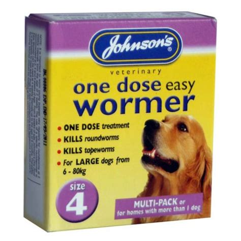wormer for puppies johnsons one dose easy wormer for puppies dogs size 4 feedem