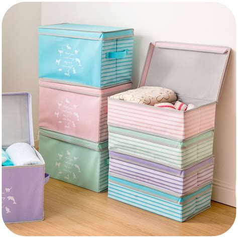 Promo Storage Box 4 Sekat 4 Sisi Cloth Organizer japanese clothes covered storage box with separate laundry sorting box storage box