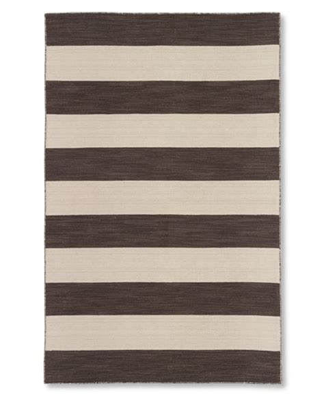 Striped Dhurrie Rugs by Wide Stripe Dhurrie Rug Chocolate Williams Sonoma