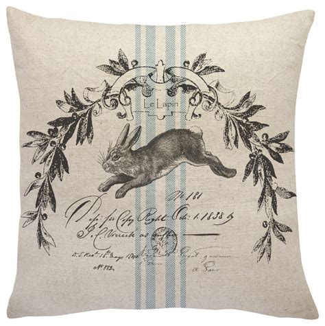 French bunny linen throw pillow farmhouse decorative pillows by thewatsonshop