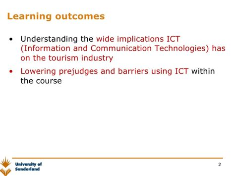 Mba Course Outcomes by Lesson 1 Etourism Introduction