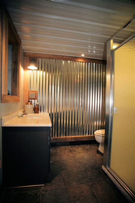 corrugated metal bathroom walls man cave bathroom rough cut lumber corrugated metal