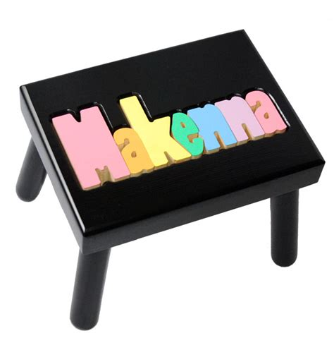 Personalized Stools by Personalized Name Stool Black With Pastel Colors