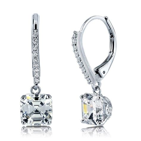 Gold Dangle With Silver And Cubic Zirconia P 296 sterling silver cubic zirconia cz leverback dangle earrings e759