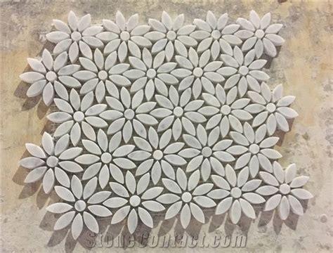 Carrara White Daisy Flower Pattern Mosaic Tile Polished