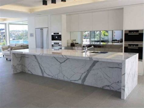 kitchen island marble top 2018 calcutta marble countertops in a modern white kitchen