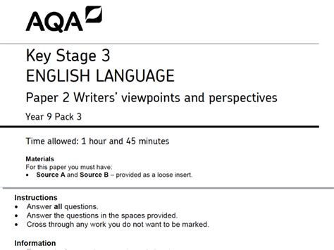 libro aqa year 9 english aqa english language paper 2 uniform theme by wilsonite teaching resources tes