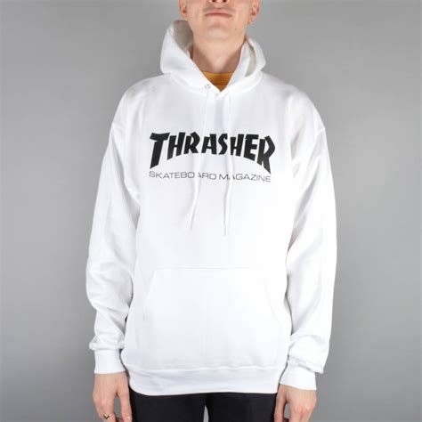 Thrasher White thrasher thrasher mag logo hoodie white thrasher from skate store uk