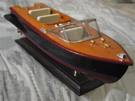 speed boat small wood wooden display model  stand