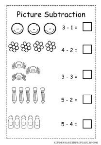 Mainan Edukasi Lets Learn Animals Colours Counting Words basic picture subtraction worksheet