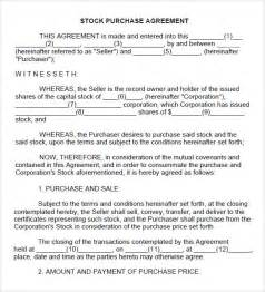 Stock Transfer Agreement Template stock purchase agreement 10 download documents in pdf