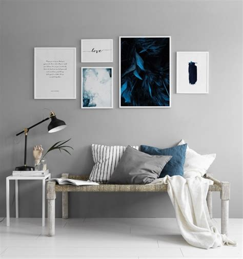 Poster Serenity 30x40cm blue painted poster in blue and white visit