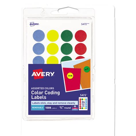 printable removable vinyl labels ave05472 avery printable removable color coding labels zuma