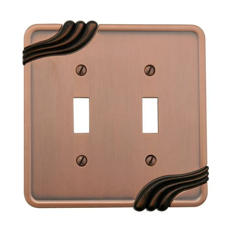 amerelle grayson 1 duplex wall plate copper and the home amerelle grayson 1 toggle wall plate copper and brass