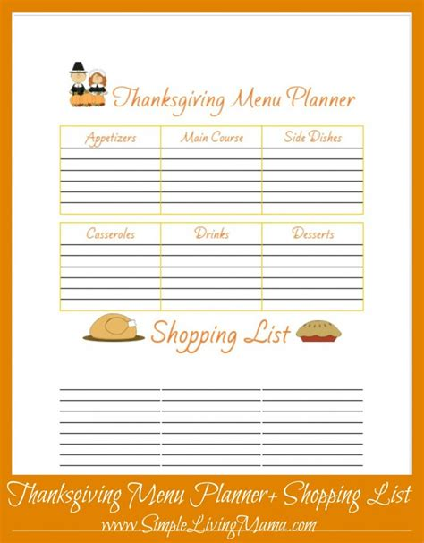 free printable thanksgiving menu planner thanksgiving