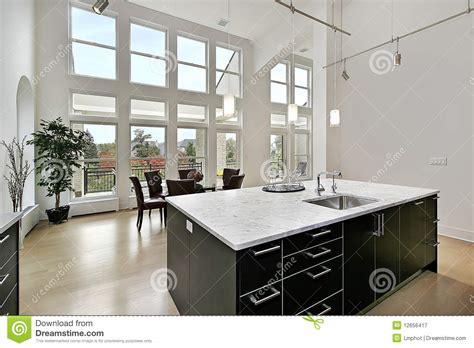 modern kitchen   story windows stock image image