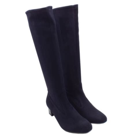 kaiser uk ofela navy suede stretch pull on knee
