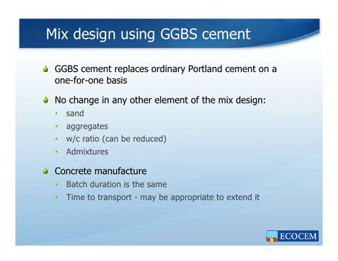 design mix meaning the benefits of ggbs cement in concrete 2011 engineers
