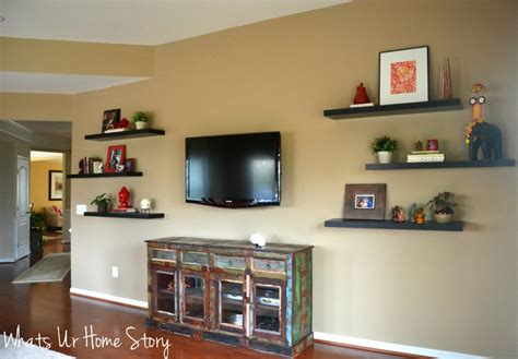 floating shelves around tv how to decorate around a tv with floating shelves whats