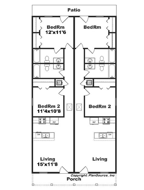 duplex narrow lot floor plans narrow lot duplex j1690 15d