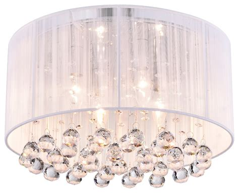Bedroom Vanity Sale Gatsby Crystal Flush Mount Chandelier With White Drum