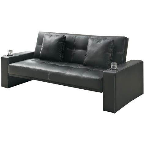 loveseat with cup holders coaster sofa sleeper with cup holders in black modern