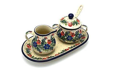 polish pottery cream sugar set  sugar spoon garden