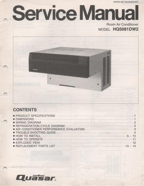 Quasar Hq5081dw2 Air Conditioner Service Manual