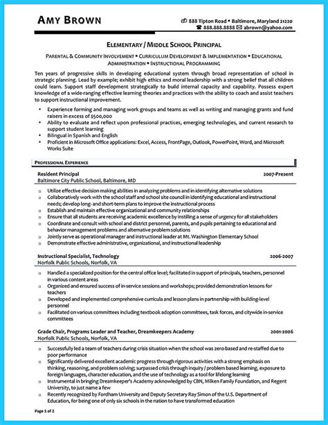 Assistant Principal Resume by An Effective Sle Of Assistant Principal Resume