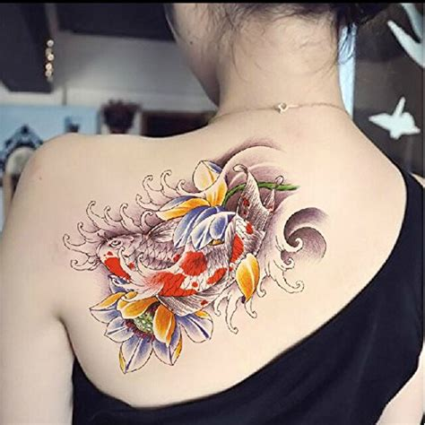 temporary tattoo koi fish dalin 4 sheets fashion temporary tattoos lotus koi fish