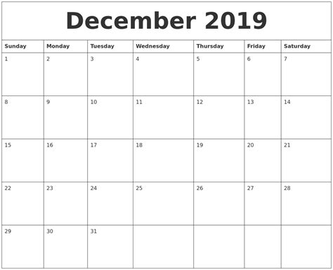 printable monthly calendar for december december 2019 free monthly calendar template