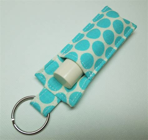 fabric keyring pattern sale lip balm key chain chapstick holder fabric chap stick