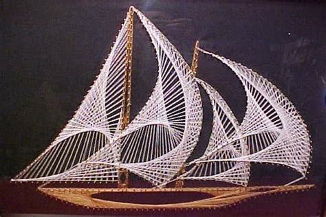 String Ship - vintage nautical string sailing ship 1970 s modern
