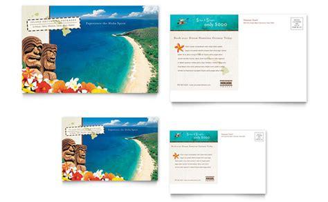 hawaii brochure template hawaii travel vacation postcard template design