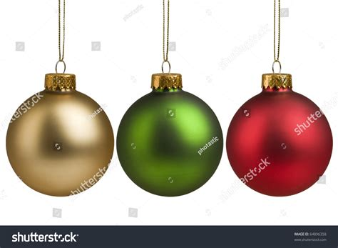 baubles and gold green baubles isolated stock photo