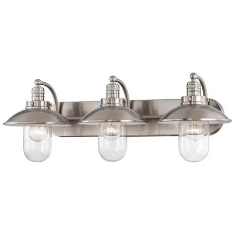 3 Light Bathroom Fixtures Minka Lavery Downtown Edison 3 Light Brushed Nickel Bath Light 5133 84 The Home Depot