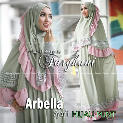 Gamis Syar I 01 Hijau arbella hijau mint baju muslim gamis modern