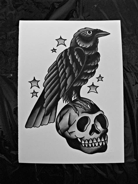raven and skull tattoo and skull tattoos