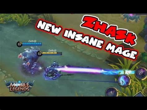 tutorial zhask mobile legend new hero zhask 4 skills insane damage mage mobile