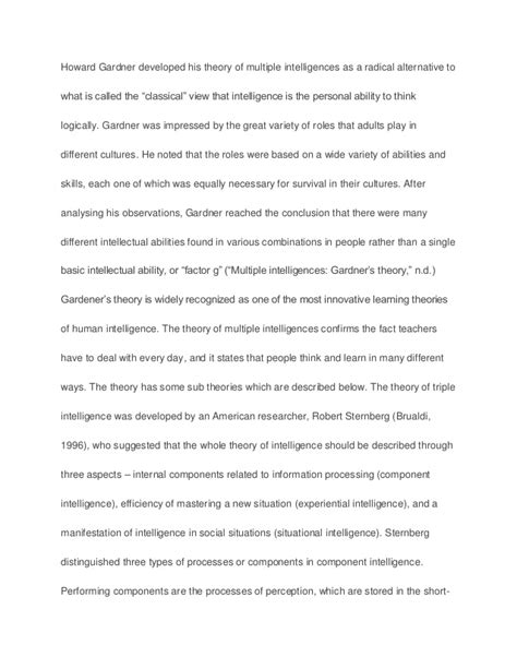 Intellectual Intelligence Essay by Gardener S Theory Of Intelligences Sle Paper Essay