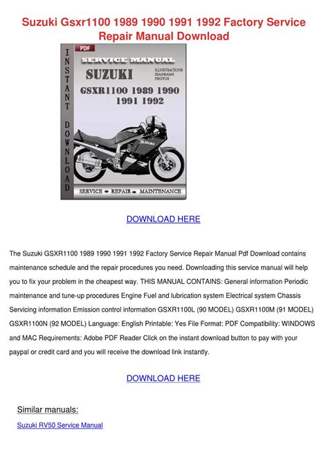 Suzuki Gsxr1100 1989 1990 1991 1992 Factory S By