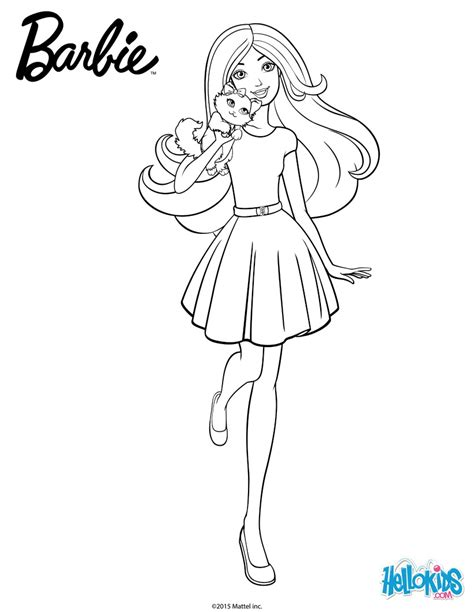 barbie cat coloring pages barbie coloring pages barbie with her cuddly kitty