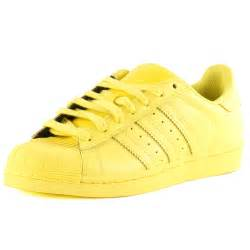 Shoes Yellow Adidas Superstar Supercolour Mens Leather Yellow Trainers