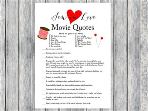 printable movie love quotes game sew in love bridal shower games magical printable