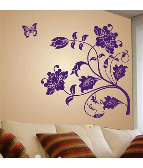 Buy Home Decor Items Online India stickerskart sunflower print pvc purple wall stickers